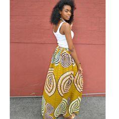 African Print Maxi: Olive Maxi Skirt - Chen Burkett New York