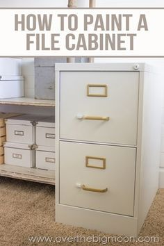 Create an affordable and beautiful craft or work space easily! Come learn how to Build a DIY File Cabinet Desk using just a couple file cabinets and some plank boards. I also have a great tutorial on how to Paint a File Cabinet. Furniture Projects, Furniture Makeover, Home Projects, Diy Furniture, Furniture Refinishing, Metal Desk Makeover, Furniture Storage, Ikea Linnmon, File Cabinet Desk