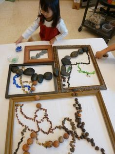 Reggio Emilia - could be fun to take strings of polished stone or semiprecious beads and create designs within each frame. Introduce the activity with a discussion on land art and Smithson's spiral jetty. Leave out for the rest of the week/month/year as a CP activity.