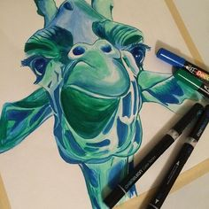 Giraffe using the Chameleon Pens that came in my December Sketchbox