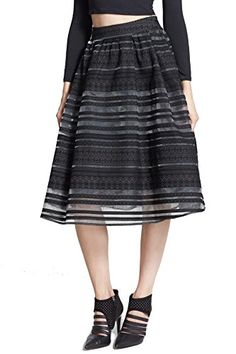 JOA Womens Striped Flocking Skirt Black Small >>> Find out more about the great product at the image link.