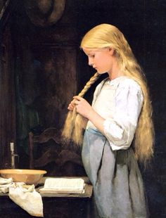 "biblioklept: "" Girl Twisting Her Hair — Albert Samuel Anker "" Classic Paintings, Old Paintings, William Adolphe Bouguereau, Girl Reading, Girls Braids, Renoir, Wicca, Great Artists, Impressionism"