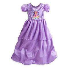 Disney Sofia Nightgown for Girls   Disney StoreSofia Nightgown for Girls - This regal sleepwear is a lesson in bedtime style. The purple majesty of our Sofia Nightgown for Girls is accented with shimmering silver foil and soft organza overskirts for a fit that will send her to sleep in enchanting comfort.