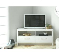 Home Venice 2 Drawer Large Corner TV Unit - White - Best ideas Bedroom Tv Unit Design, Tv In Bedroom, Large Corner Tv Unit, Living Room Furniture, Venice, Drawers, Home And Garden, The Unit, Cabinet