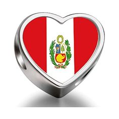 Peru flag Heart Photo Charm Beads by FERVENT LOVE -- Awesome products selected by Anna Churchill