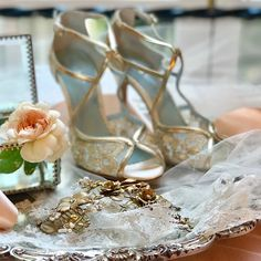 Wedding Shoes & bridal accessories.  Tess lace gold shoes by Bella Belle, Sweet Blossom bridal headpiece by Twigs & Honey.