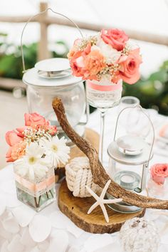 Beach wedding table decorations.