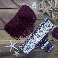 Burgandy Fringe Floral Bikini Set