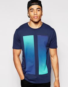 ASOS+T-Shirt+With+Double+Ombre+Block+Print+And+Relaxed+Skater