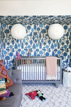 """Wallpaper: Zig Zag in Bright Blue by MakeLike Source: House of Honey"""" show_pin_button:""""true"""" --> Wallpaper has the ability to create a story and set the mood in a room and I especially do a mental cheer when I see it used fearlessly in children's rooms. Here are a dozen children's rooms and nurseries where wallpaper is the superstar (along with the names and sources for the wallpaper)."""