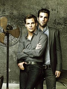 That thumb in his belt loop... Chris Pine and Zachary Quinto - Imgur