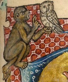 Monkey with owl, detail from Psalm 1, David playing the harp, Ms. 42130. British Library