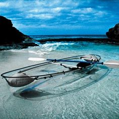The Molokini Kayak from Clear Blue Hawaii is an all-transparent two-passenger kayak that allows our little shark friends to go window shopping for dinner.* For those of you that can afford fun toys like these, you have nothing to worry about. The Molokini kayak is made of a polycarbonate material used in the production of bulletproof glass and fighter jet canopies. Photo: essentialgearguide.com/tag/clear-boat