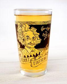 Albert Einstein Heroes of Science Beer Pint Glass by Cognitive Surplus