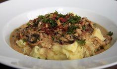 Houbove ragu s kvetakovym pyre /Mushroom ragout with cauliflower puree/ Zdravé, nízkosacharidové, bezlepkové recepty. (Healthy, low carb, gluten free recipes.)