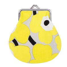 Mini Unikko small purse, yellow-stone, by Marimekko.