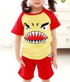 ชุดเสื้อเด็ก+กางเกง สีแดง Monster S. 100 110 120 130 140