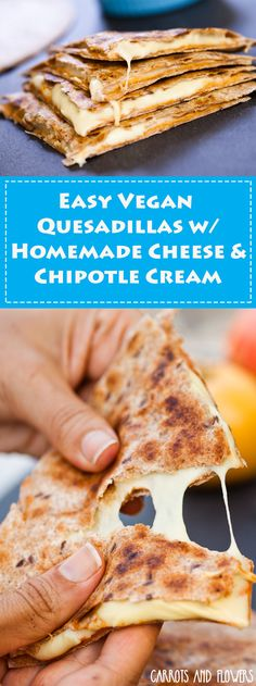 Healthy Vegan Quesadillas with homemade cheese & chipotle cream- ready in…