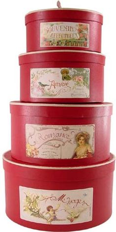 old fashioned hat boxes - Bing Images Vintage Hat Boxes, Love Box, Red Cottage, Pretty Box, Treasure Boxes, Tin Boxes, Shabby Chic Decor, Trinket Boxes, Home Deco