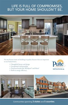 Pulte Homes floor plans include a flow from kitchen to living room ...