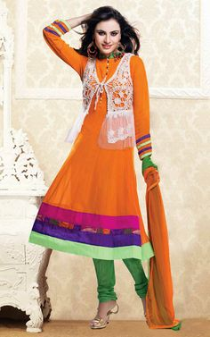 ORANGE & GREEN GEORGETTE ANARKALI SALWAR KAMEEZ - CRO 5007
