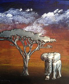 elephant on canvas, facebook.com/ThePewterRoom