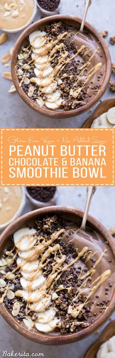 This Chocolate Peanut Butter Banana Smoothie Bowl tastes like a peanut butter cup, but its actually a filling, superfood-packed breakfast that comes together in just 5 minutes! This gluten-free vegan smoothie bowl is the perfect way to start the day.