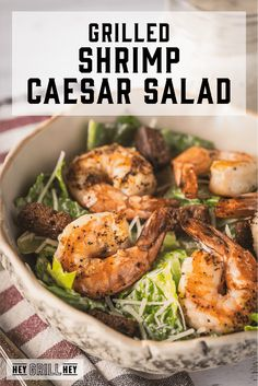 Shrimp Cesar Salad, Shrimp Salad, Grilled Shrimp, Tapas, Lemon Pepper Shrimp, Seafood Recipes, Dinner Recipes, Homemade Caesar Salad Dressing, Fancy Salads