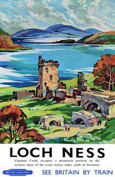 Details about Vintage Loch Ness Urquhart Castle Railway Travel Poster… Posters Uk, Railway Posters, Poster Prints, Art Print, Train Posters, Urquhart Castle, British Travel, Tourism Poster, Retro Poster