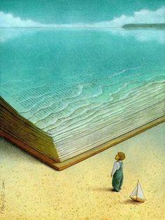 Lire, c'est plonger et nager dans l'imaginaire. / Ocean of Imagination. / By Pawel Kuczynski.