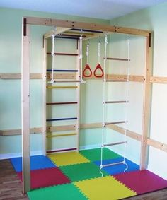 home Gym Office - DIY Home Jungle Gym (wood sold separately) Home Gym Set, Best Home Gym, Kids Indoor Playhouse, Build A Playhouse, Kids Woodworking Projects, Home Projects, Fine Woodworking, Indoor Jungle Gym, Indoor Gym