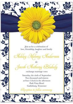 Yellow daisy navy blue damask and ribbon wedding invitation. Great choice for a yellow and blue wedding.