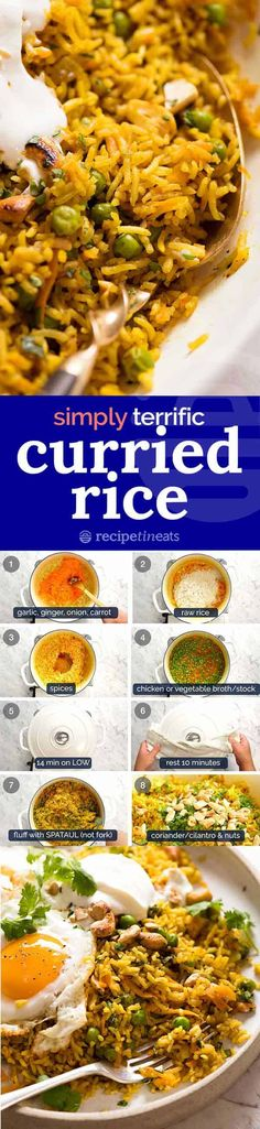 A really great Curried Rice that won't disappoint! This pilaf-style basmati rice recipe is flavoured with everyday curry powder plus extra spices to to give it a punch of flavour. Curry Recipes, Vegetarian Recipes, Cooking Recipes, Healthy Recipes, Basmati Rice Recipes, Recipetin Eats, Curry Rice, Indian Food Recipes, Arabic Recipes