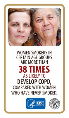 Image of two women with the caption reading: Women Smokers in certain age groups are more than 38 times as likely to develop COPD, compared withwomen who have never smoked. Good Habits, Healthy Habits, Organization Websites, Cystic Fibrosis, Smokers, Social Networks, Fitness Diet, Workout Programs, Lungs
