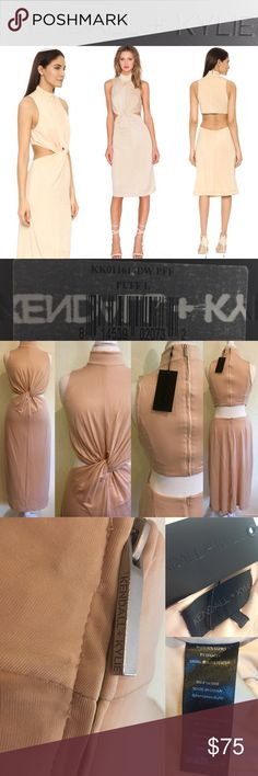 """NWT Kendall & Kylie Knot-Front Midi Jersey Dress💕 SOLD OUT!  NWT Kendall & Kylie Knot-Front Sleeveless Midi Jersey Dress in 'Puff' Nude Color❤ Paid $178 @ Neimans, but decided the nude color isn't for me😬  Stand collar, sleeveless, mock neckline, cutout waist from side to back w/twist knot front detail, fitted silhouette, midi-length skirt, hidden back zip. Dress elongates figure & calls attention to waist. Color 'Puff' nude/beige  Measures: L neck2hem: 46"""", C:18"""", H:21""""  Bundle for…"""
