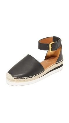 e957d935c67e Black Leather See by Chloe Glyn Espadrille Wedge Sandals Chloe Sandals