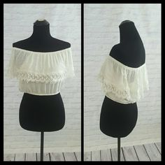Off Shoulder White Lace Crop Top Super cute and perfect for summer. Worn once in Hawaii, in great condition. Price is firm. Forever 21 Tops
