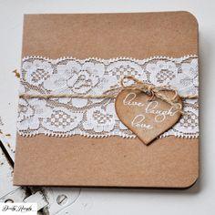 Rustikální svatební oznámení - krajka