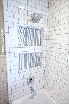 Shower Niche Transitional Bathroommenlady More Penny Tile Bathroom Ideas Tile Shower Niche, Subway Tile Showers, Bathroom Niche, Bathroom Kids, Shower Floor, Bathroom Flooring, Master Bathroom, Bathroom Showers, Kids Bath