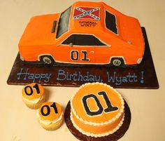 "General Lee 1st Birthday - Carved from a 1/4 sheet cake (two sheets plus 8"" square total). gumpaste-topped cupcakes and smash cake accompanied."