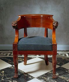 Empire carved mahogany fauteuil de bureau attributed to Jacob-Desmalter et Cie, lion paw feet Paris, date circa 1805-1810