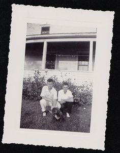 Vintage Antique Photograph Two Young Men With Adorable Bulldog Puppy in Backyard. Pinned by Judi Crowe.