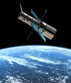 The Hubble Telescope in orbit around earth
