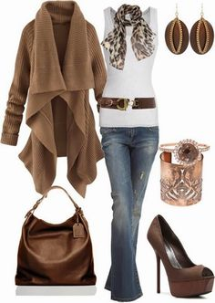 Gorgeous Brown Long Sweater and White Blouse, Scarf, High Heel Shoes, Jeans and Handbag (I would wear this with flats or boots) #handbag