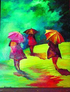what a wonderful, colorful painting of 3 kids with umbrellas