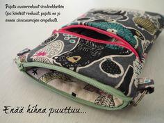 DIY: Pussukka tuplavetoketjulla - Punatukka ja kaksi karhua Sewing Projects, Sewing Patterns, Coin Purse, Weaving, Pouches, Crochet, Crafts, Wallets, Aprons