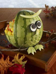 niedliche Wassermelone Eule mit Oreo Augen