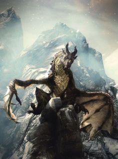 Skyrim Dragon Art by Bethesda Art Team Elder Scrolls Games, Elder Scrolls Skyrim, Fantasy Creatures, Mythical Creatures, Fantasy World, Fantasy Art, High Fantasy, Skyrim Dragon, Cool Dragons