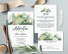 Mountain Wedding Invitations Woodsy Nature Wedding Invitation Printable Wedding Invitation Set Forest Woodlands Template Forest Outdoors Kit - Wedding World Mountain Wedding Invitations, Printable Wedding Invitations, Wedding Invitation Design, Wedding Stationary, Outdoor Wedding Invitations, Wedding Weekend, Watercolor Wedding, Belle Photo, Wedding Events
