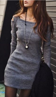 Grey Off-Shoulder Long Sleeve Knit Bodycon Dress